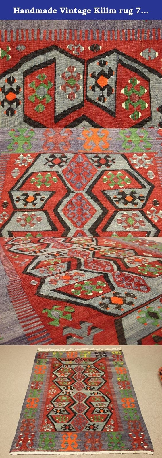 Handmade Vintage Kilim Rug 75×50 Feet Area Rug Floor Rug Turkish In Organic Wool Area Rugs (#8 of 15)