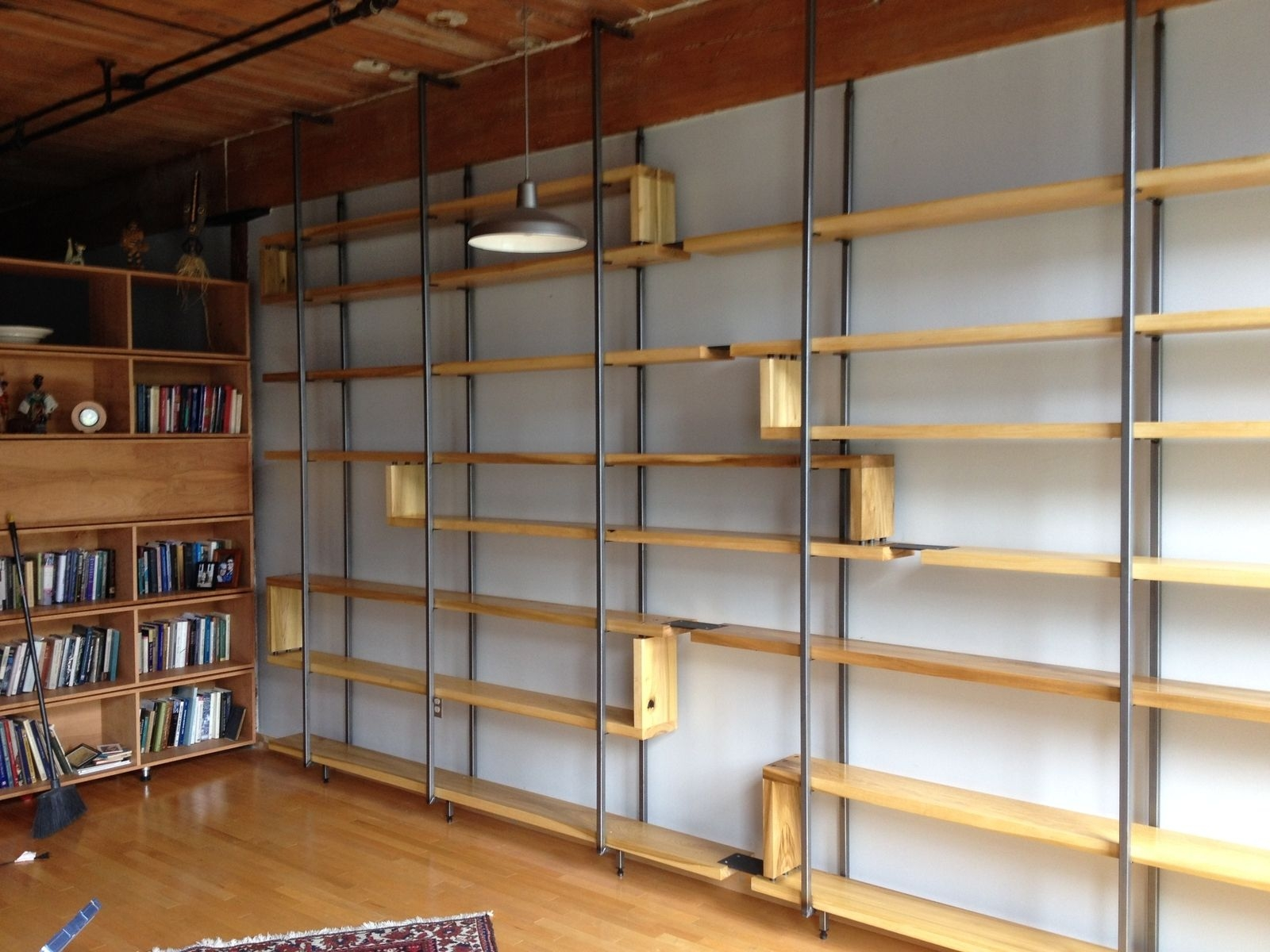 Handmade Wood And Steel Floating Book Shelves Object A Pertaining To Handmade Bookcases (#12 of 15)