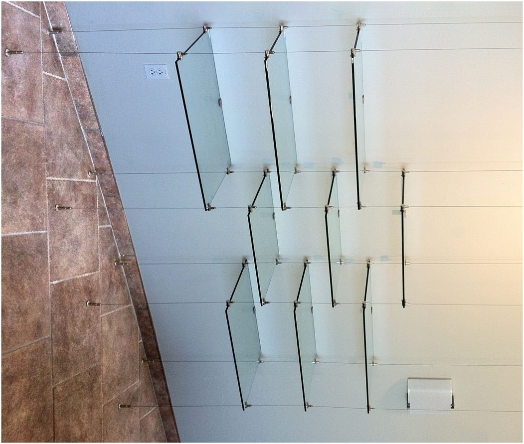 Hanging Glass Shelf Hardware Kiera Grace Vertigo Set Of 4 Ceiling Within Suspended Glass Shelf (View 2 of 12)