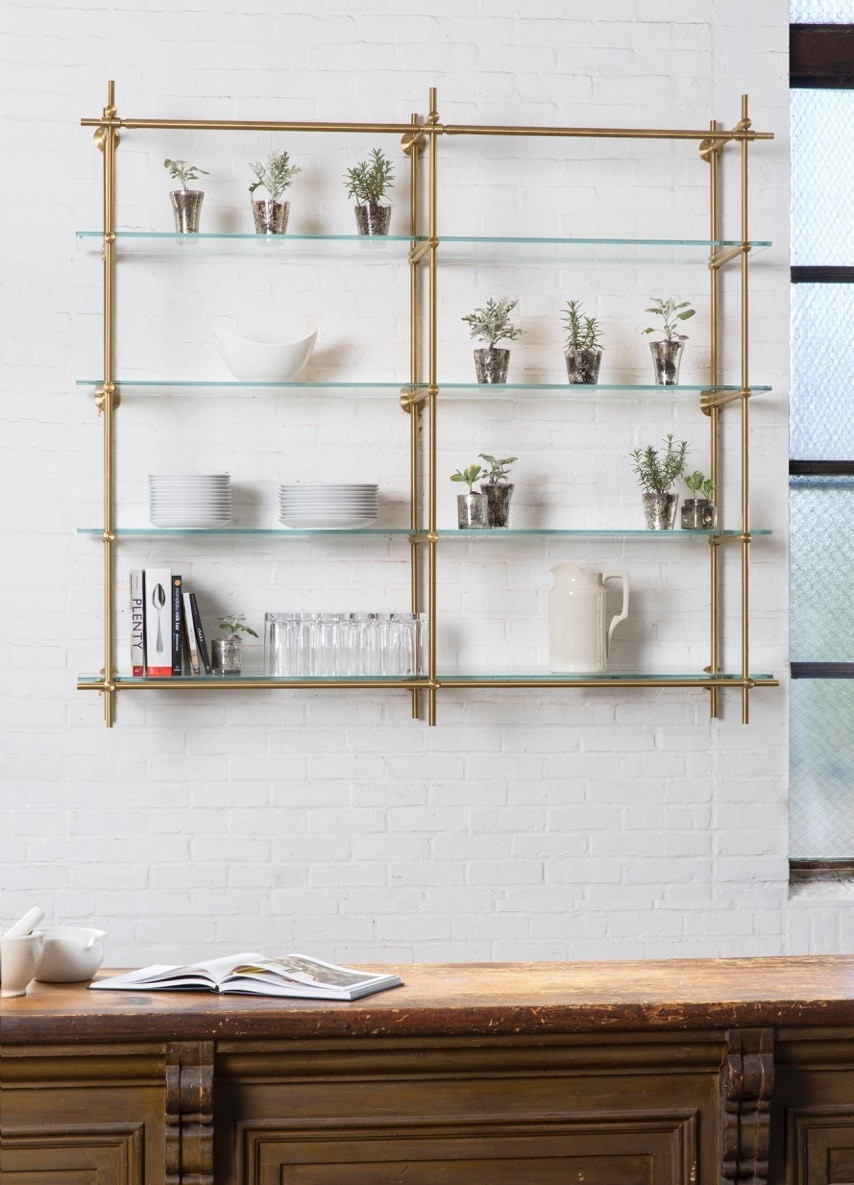 12 best ideas of glass kitchen shelves for Kitchen shelf
