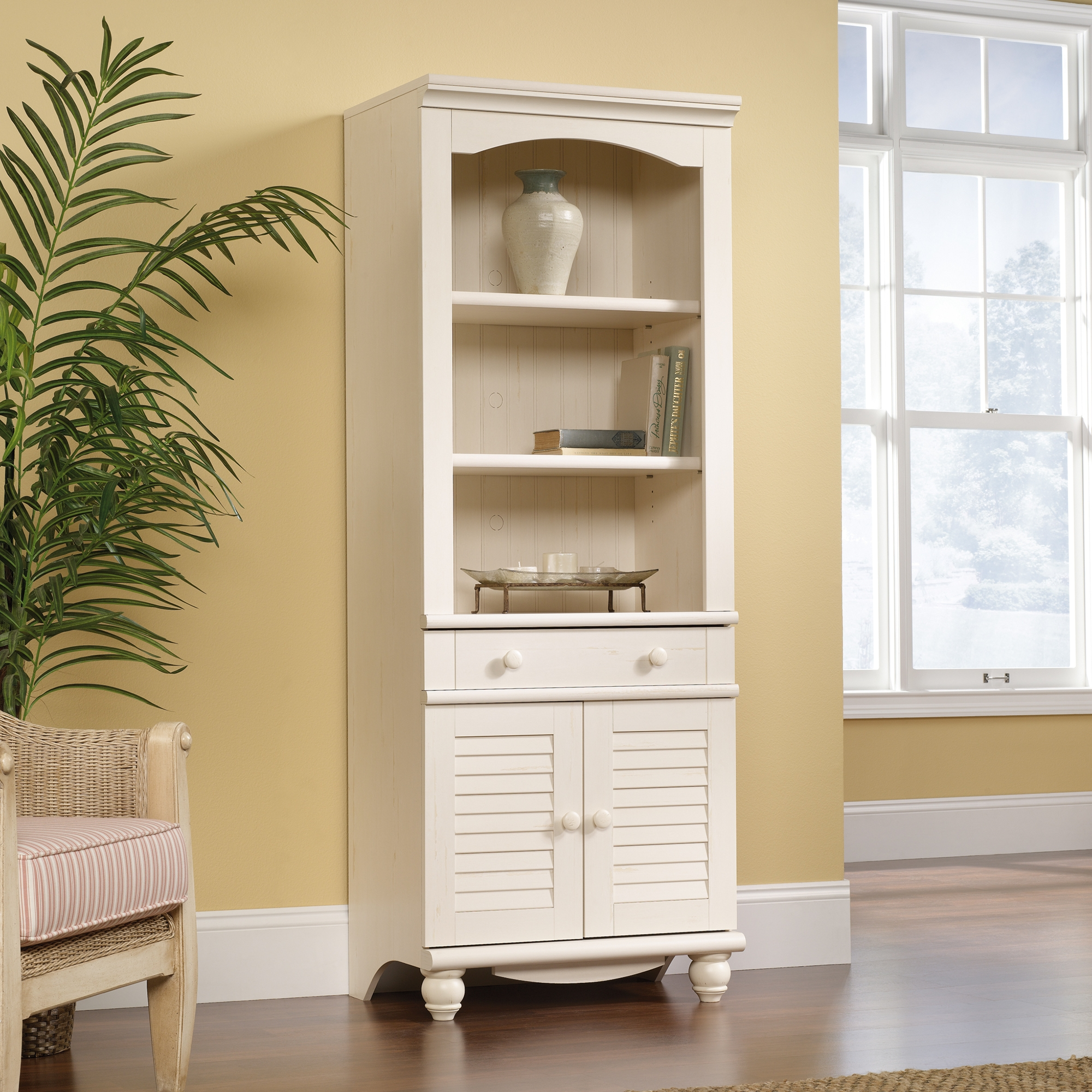 Harbor View Library Bookcase With Doors 158082 Sauder In White Library Bookcase (View 5 of 15)
