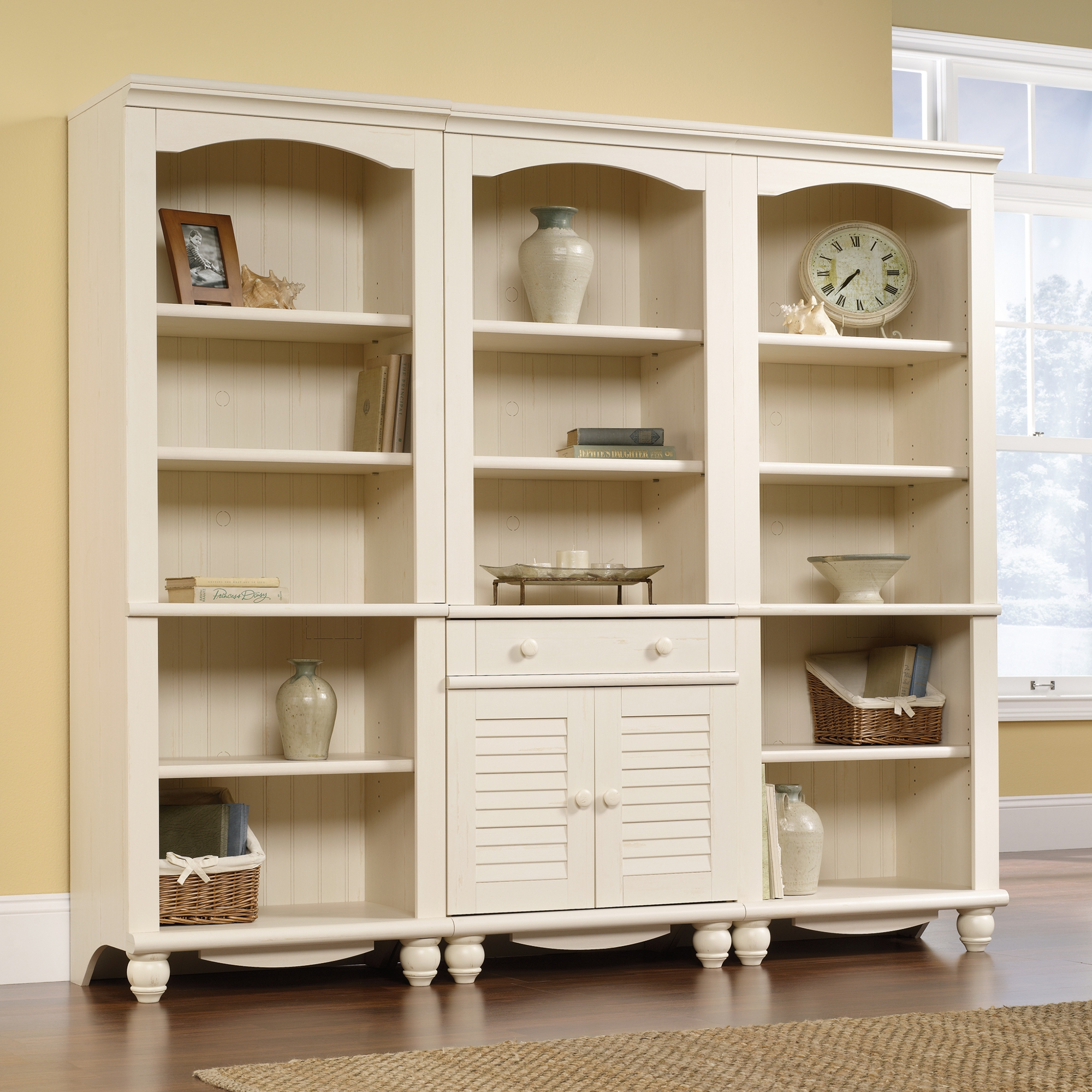 Harbor View Library Bookcase With Doors 158082 Sauder Within White Bookcases (#6 of 15)