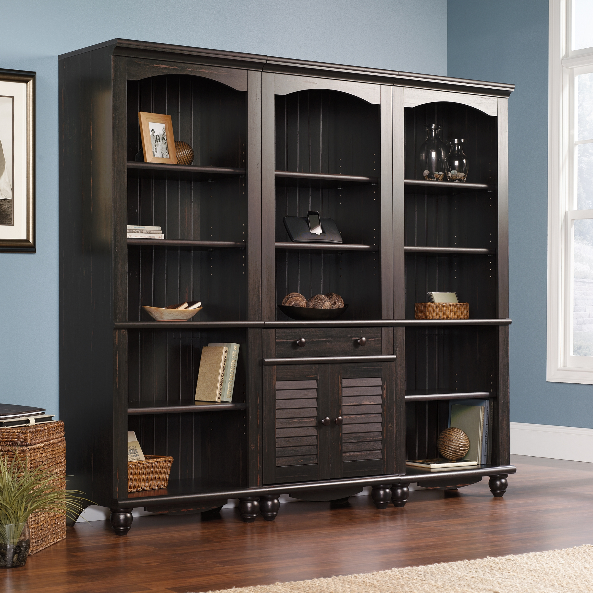 Harbor View Library With Doors 401632 Sauder Inside Wall Library Bookcase (#7 of 15)
