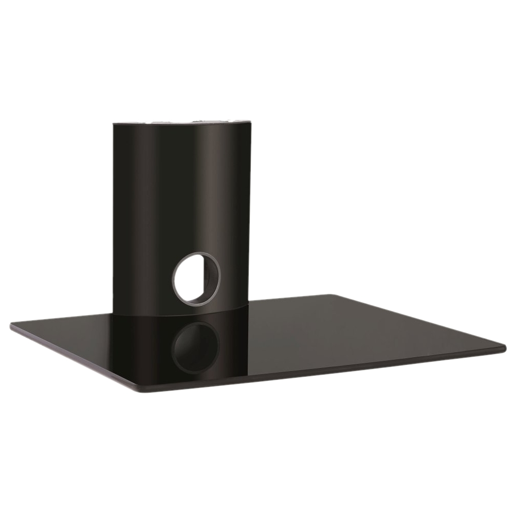 Hartleys Wall Mount Single Floating Black Glass Dvd Hifi Shelf Sky In Floating Black Glass Shelf (#9 of 12)