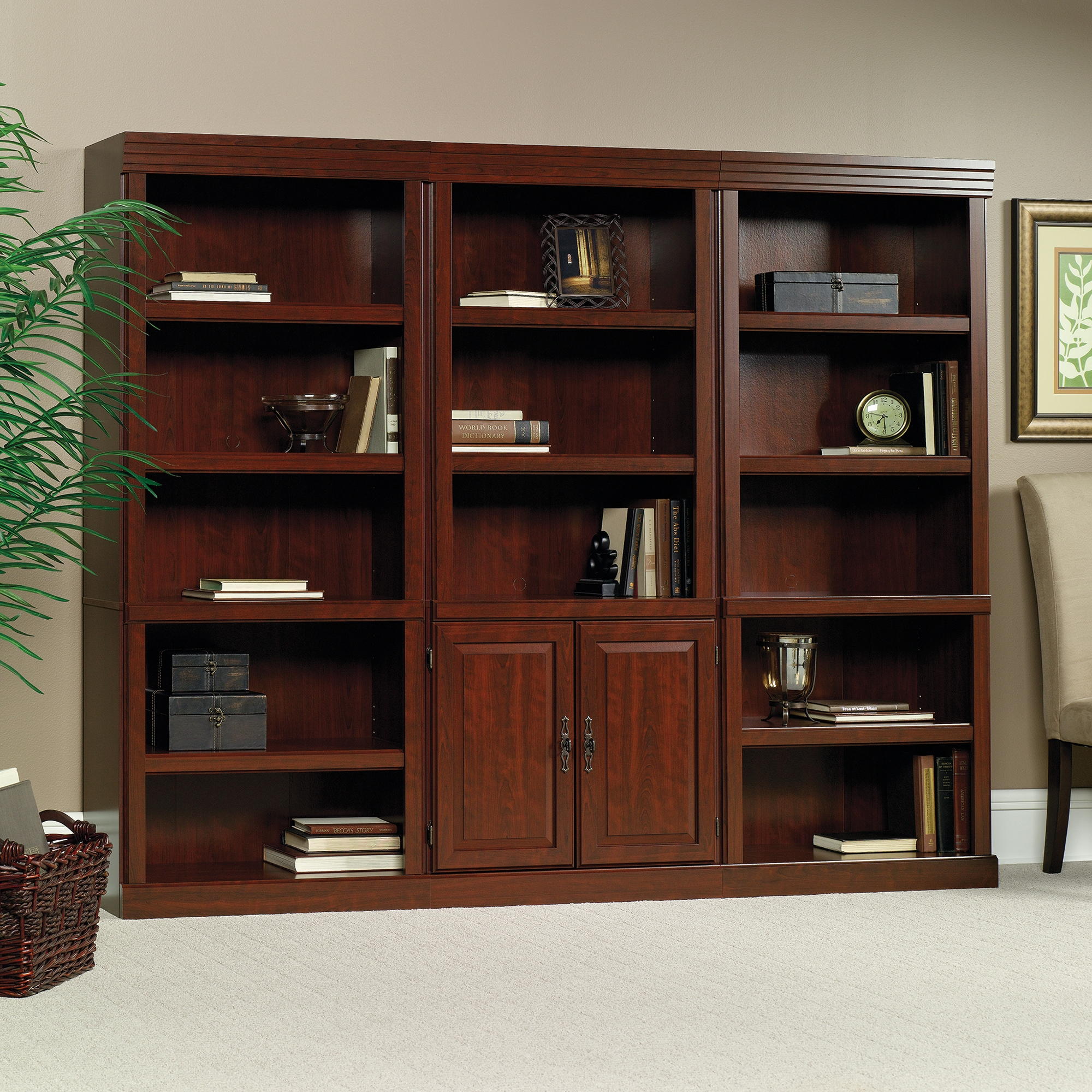 Heritage Hill Library With Doors 102792 Sauder With Regard To Classic Bookcase (View 5 of 15)
