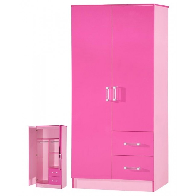 High Gloss Pink Light Pink 2 Door Wardrobe Throughout Childrens Pink Wardrobes (View 14 of 15)