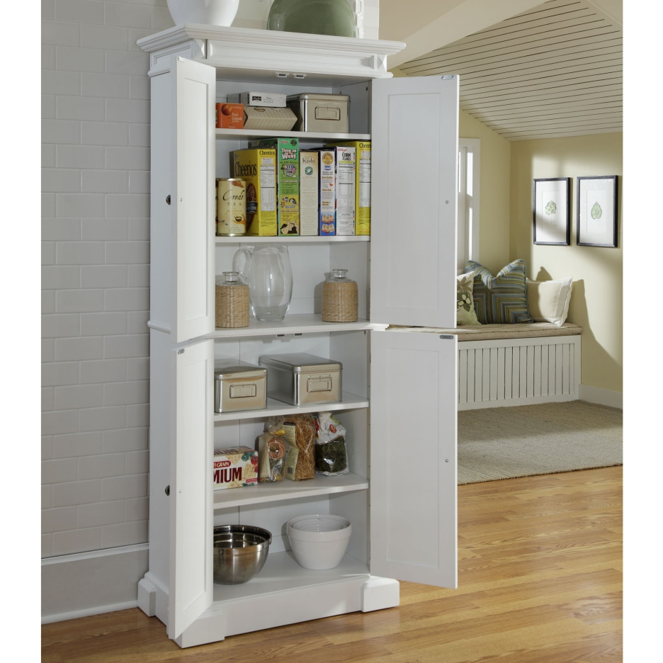 High White Wooden Shelf Pantry With Many Shelves Placed On The With Regard To Free Standing White Shelves (#10 of 15)