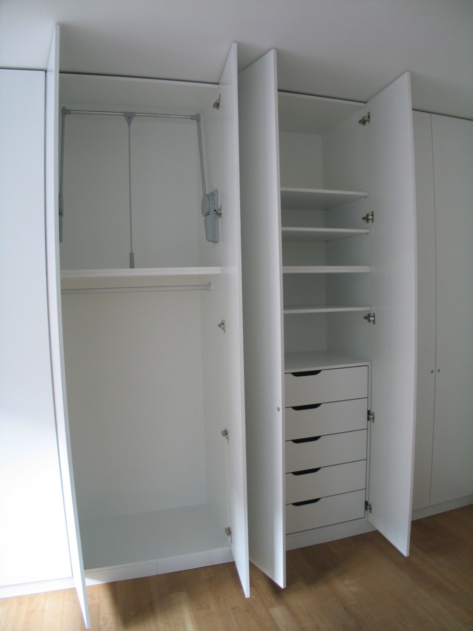 High White Wooden Wardrobe With Shelves Also Five Drawers Combined Pertaining To Wardrobe With Drawers And Shelves (View 10 of 15)