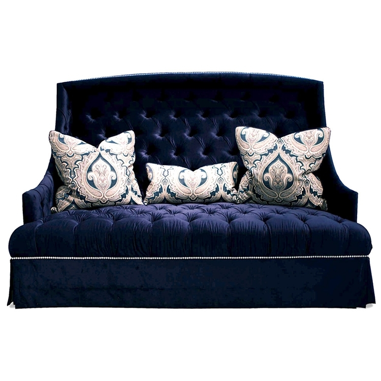 Hollywood Regency Sofa Navy Blue Tufted Haute House Home Pertaining To Blue Tufted Sofas (#9 of 15)