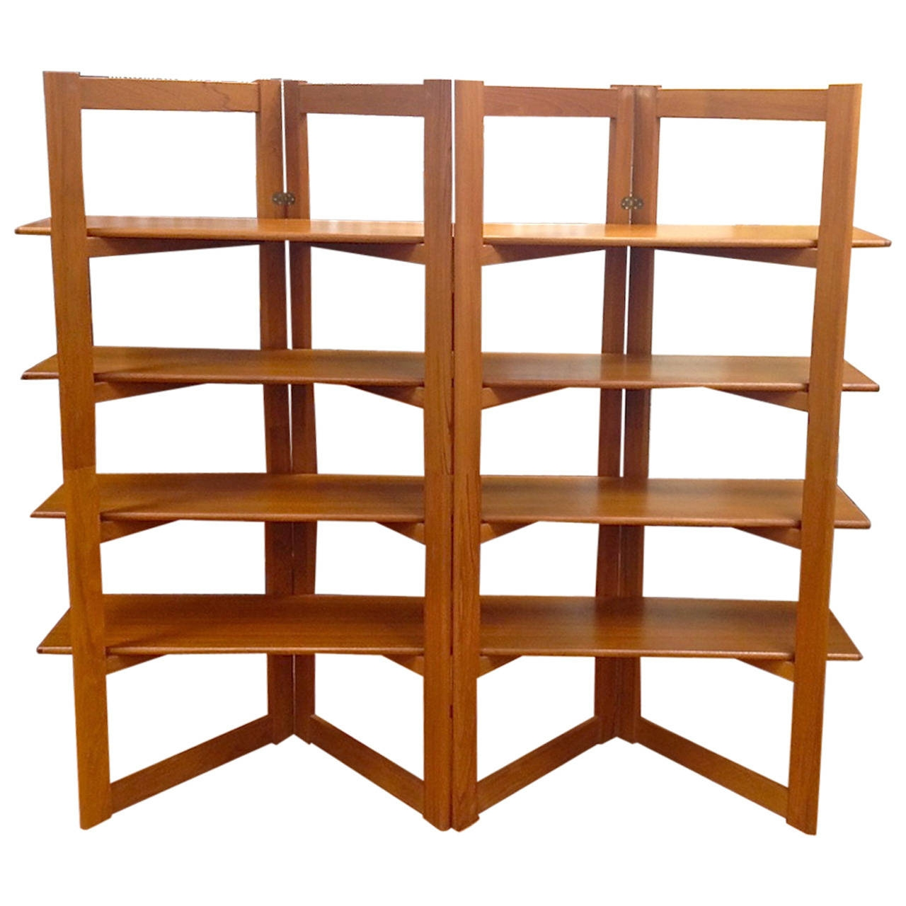 Home Design Danish Modern Teak Freestanding Room Divider With Free Standing Bookshelves (#12 of 15)