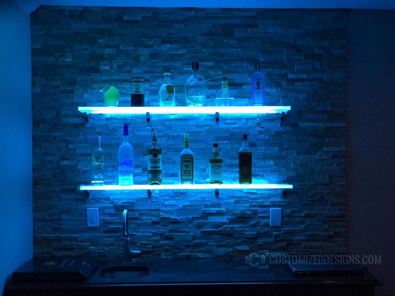 Popular Photo of Floating Glass Shelves For Bar