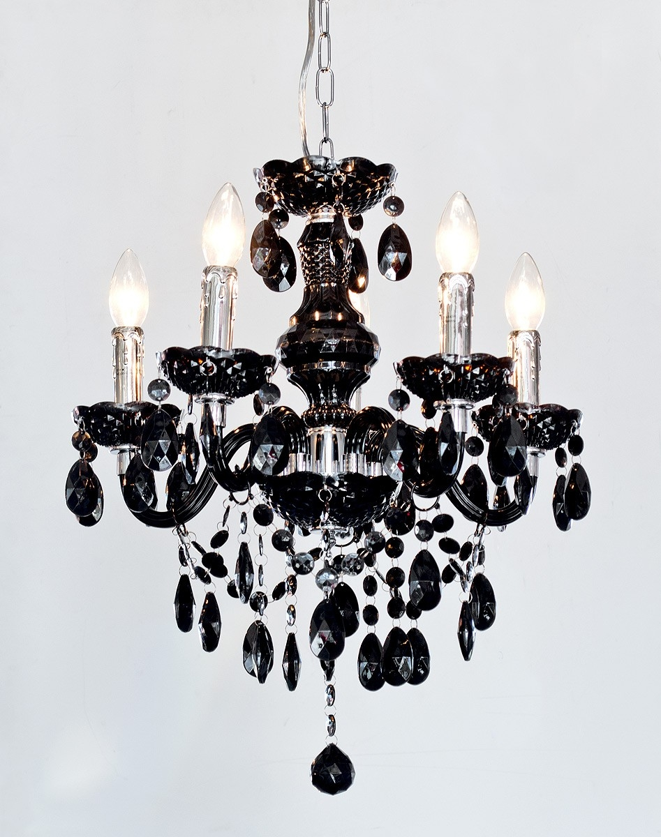Home Lighting Vintage Black Crystal Chandelier Luxury Black Intended For Vintage Black Chandelier (#4 of 12)