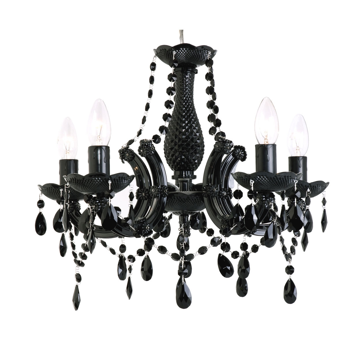 Home Lighting Vintage Black Crystal Chandelier Luxury Black Pertaining To Vintage Black Chandelier (#5 of 12)