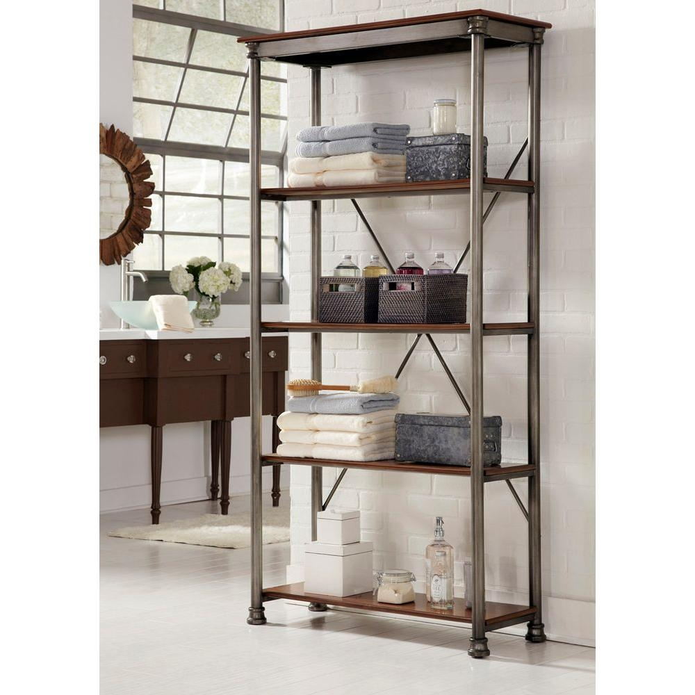Home Styles Five Shelf 38 In W X 76 In H X 16 In D Wood And With Wooden Shelving Units (#7 of 15)