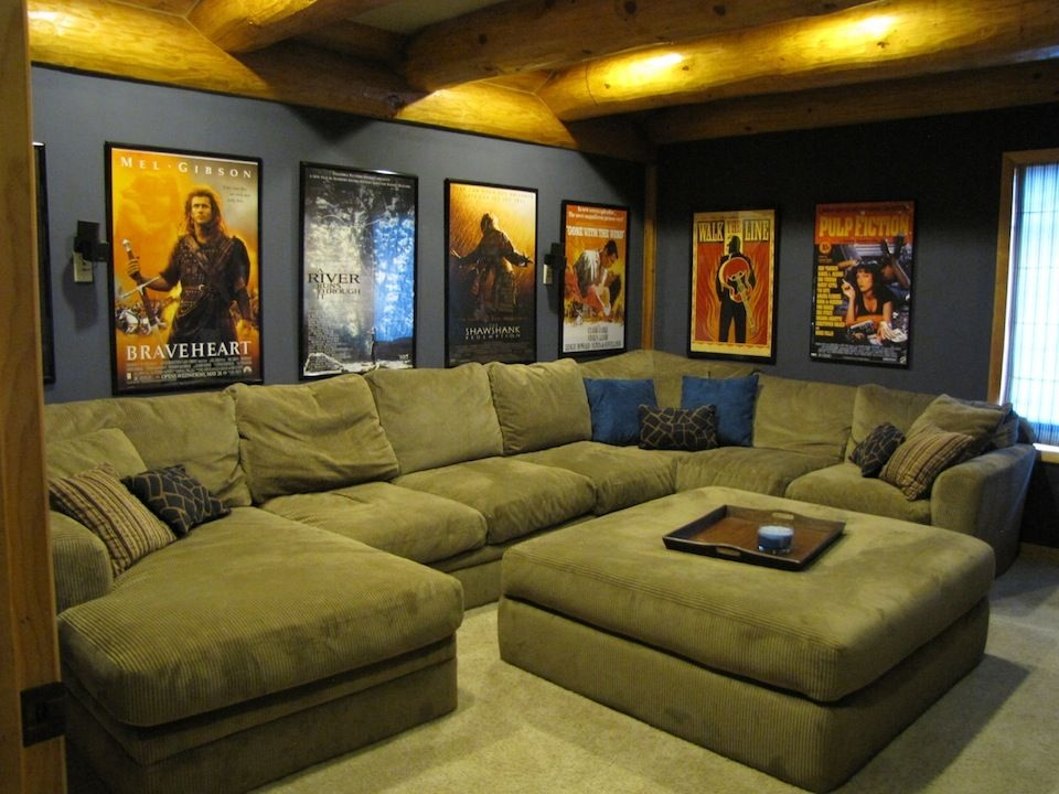 Home Theater Room With A Big Couch And Our Movie Posters On The Intended For Theater Room Sofas (#10 of 15)