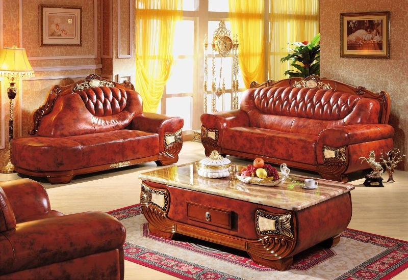 Home Use High Class Living Room Furniture European New Classical Throughout European Leather Sofas (#10 of 15)