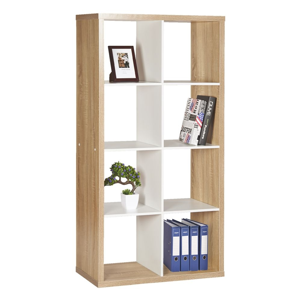 Horsens 8 Cube Bookshelf Oak And White Officeworks With Flat Pack Bookcase (#8 of 15)