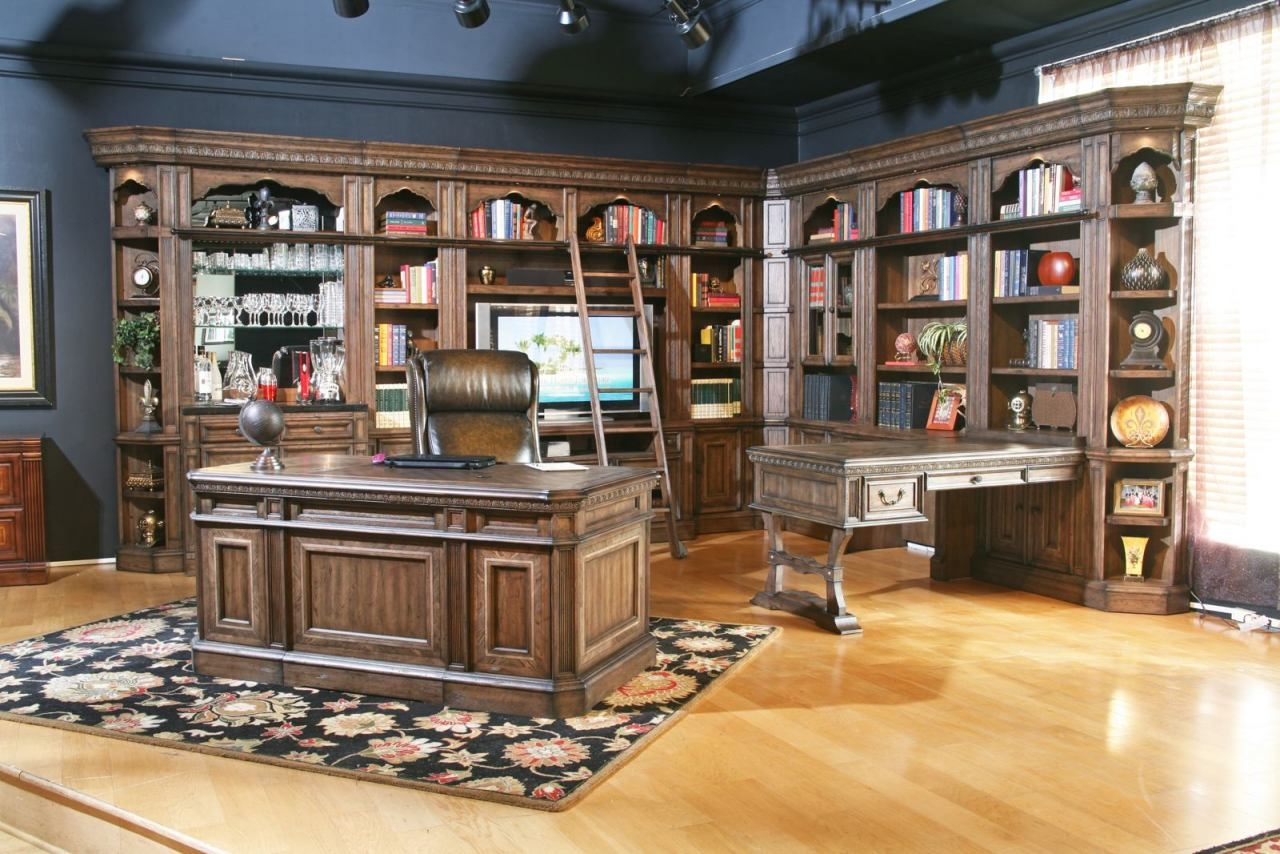 House Aria Home Office Executive Desk Set W Ladder In Smoked Pecan Regarding Desk With Matching Bookcase (#8 of 15)