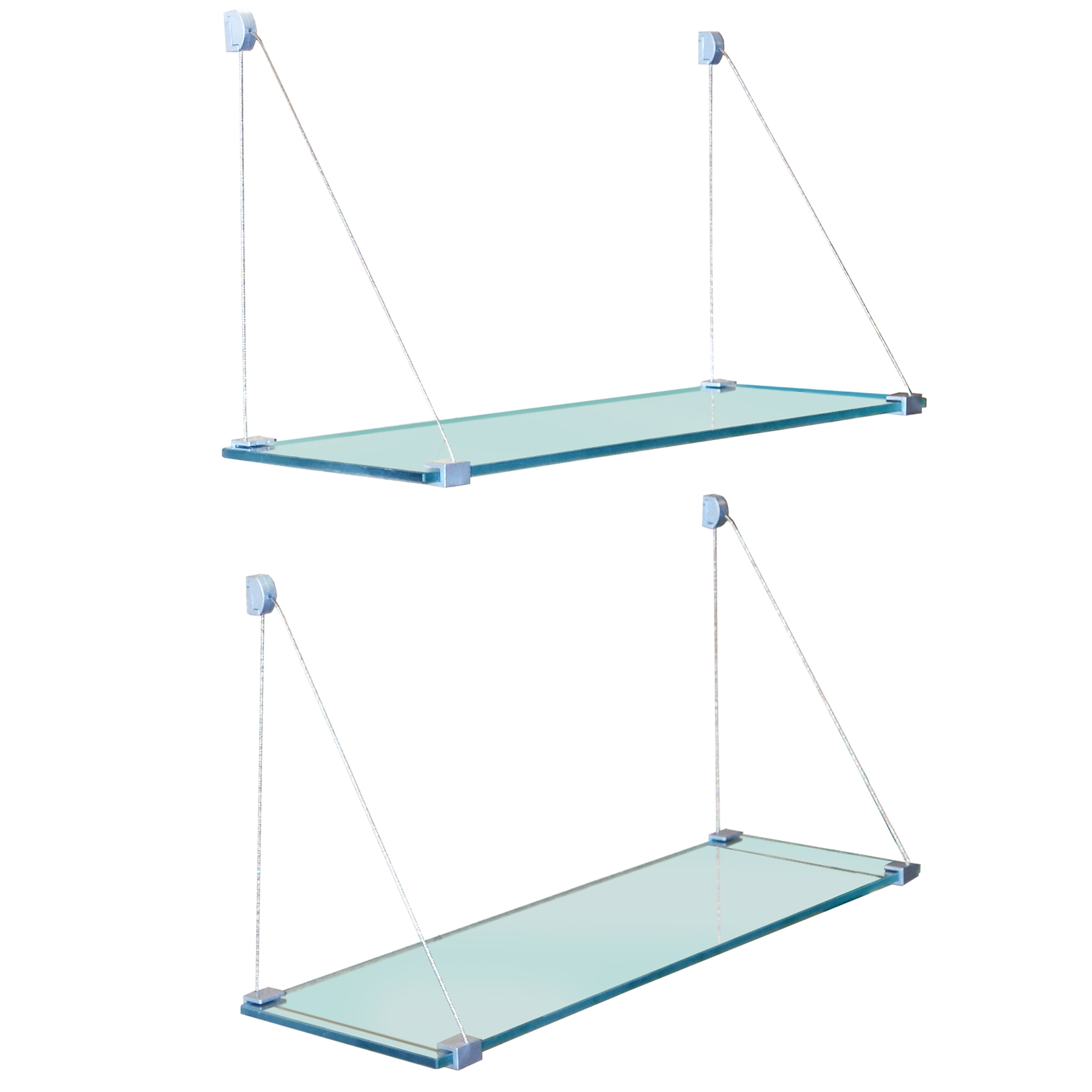 Popular Photo of Glass Suspension Shelves