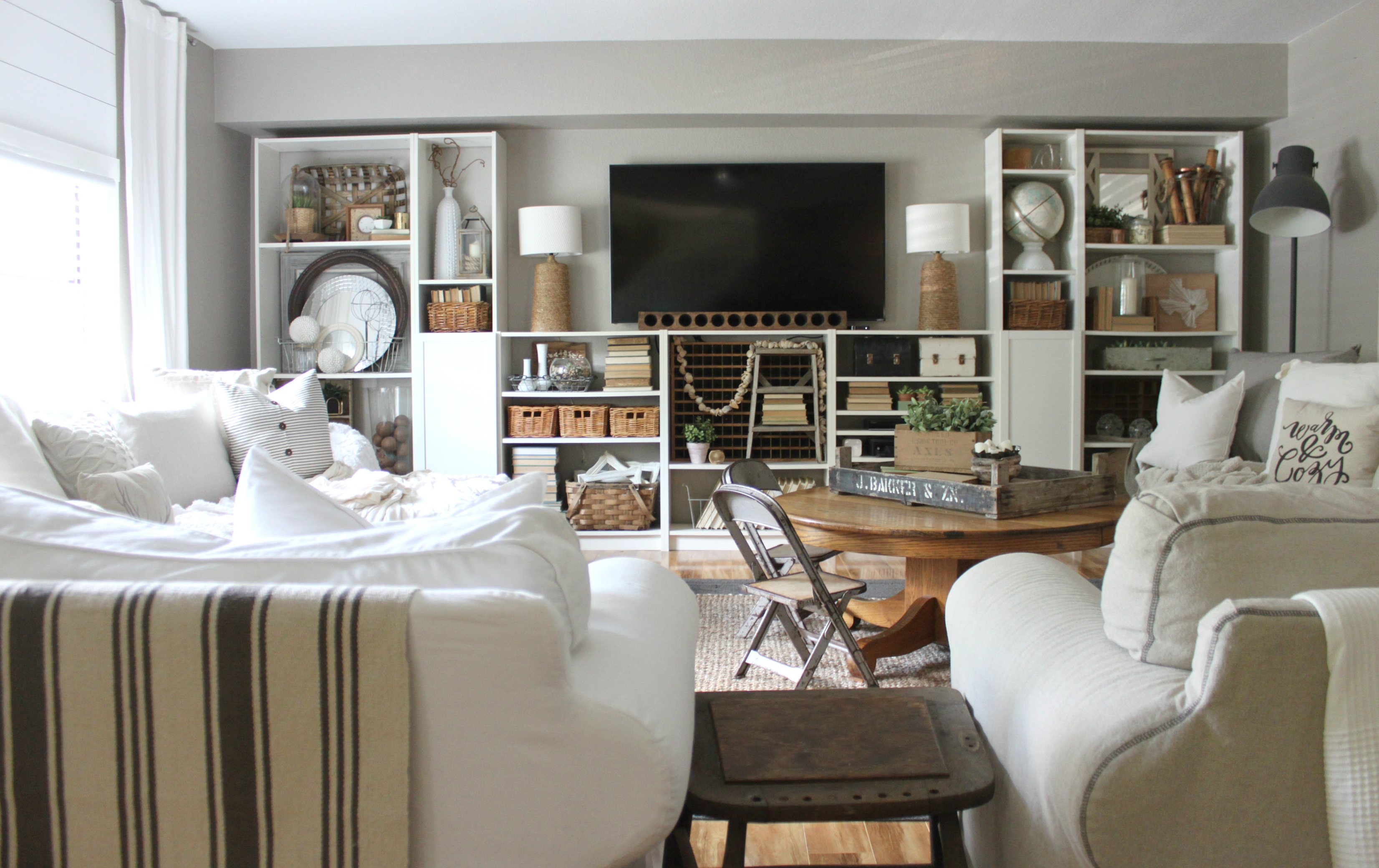 How I Decorate With Ikea Decor An Inspired Nest Throughout Family Room Bookcases (#8 of 15)