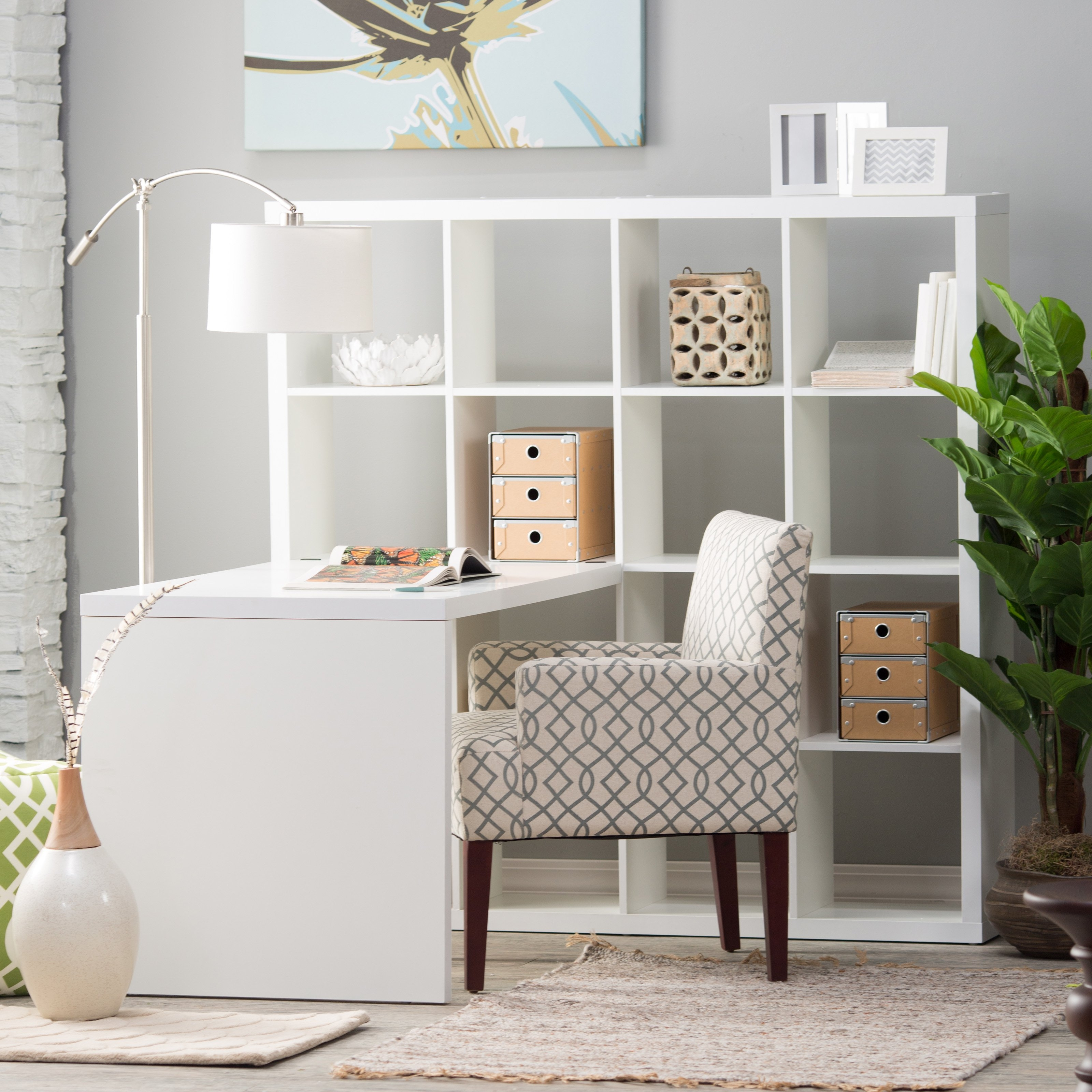 Hudson 16 Cube Shelf With Desk White Desks At Hayneedle Intended For Desk With Matching Bookcase (#9 of 15)
