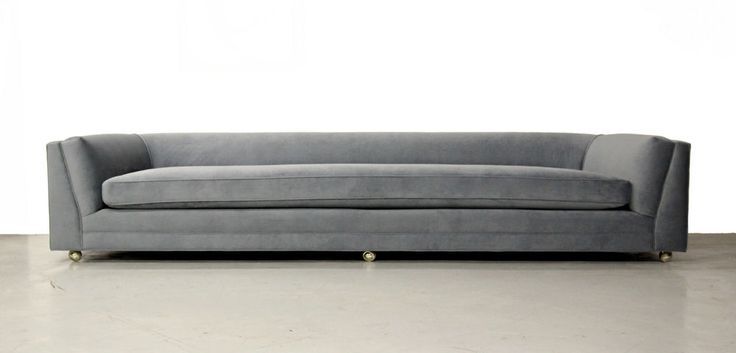 Huge Rare 10ft Mid Century Modern Long Low Sofa With Rounded Back Within  Long Modern Sofas