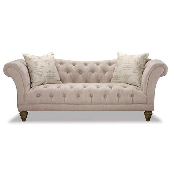 Hutton Natural Linen Sofa 2g 3164s Emerald Home Afw In Tufted Linen Sofas (#5 of 15)