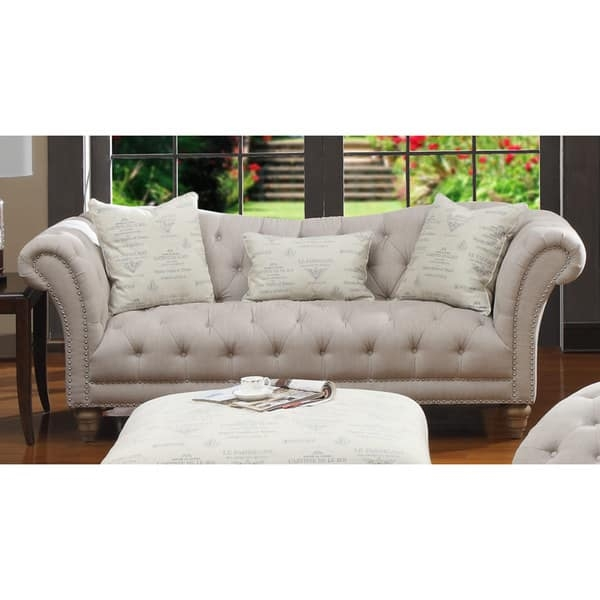 Hutton Off White Linen Look Button Tufted Sofa Free Shipping Inside Tufted Linen Sofas (#6 of 15)