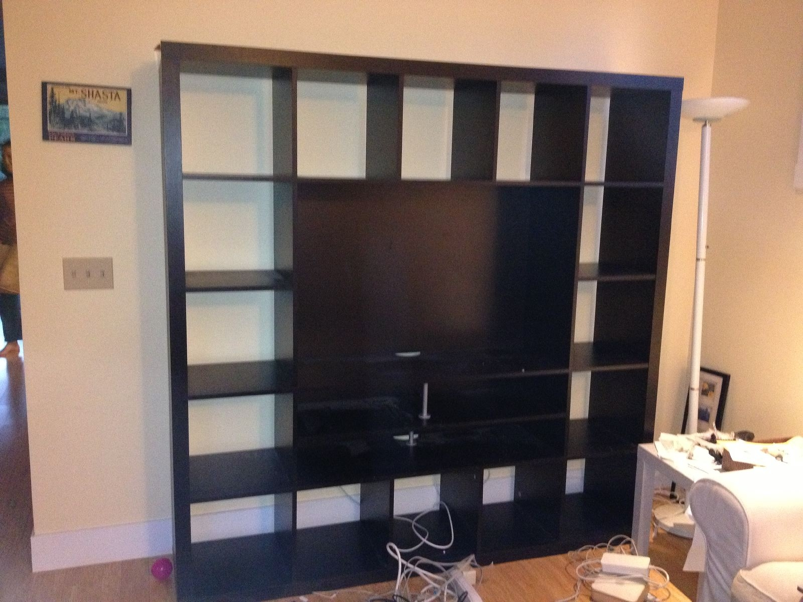 Ikea Hack 2 Besta Built In Family Room Tv Bookshelf Shirley Inside Bookcase With Tv Shelf (#8 of 15)