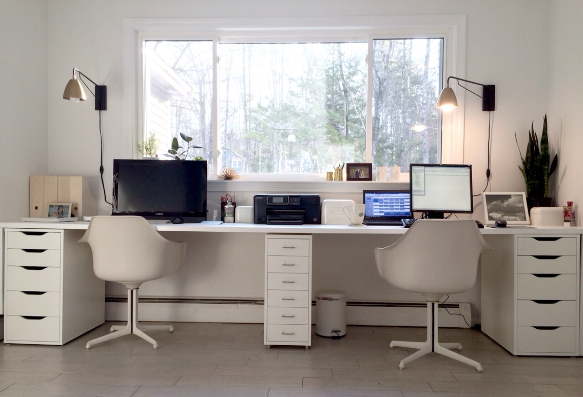 Ikea Hacked Faux Built Ins Double Desk Love The Sun Filled Pertaining To Built In Study Furniture (#11 of 15)