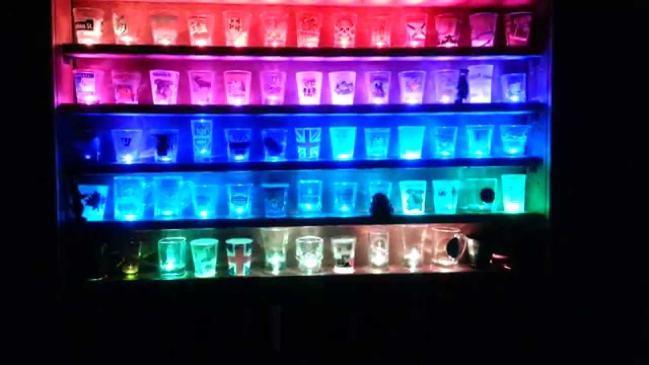 Illuminated Shot Glass Shelf Youtube Throughout Illuminated Glass Shelves (#5 of 12)