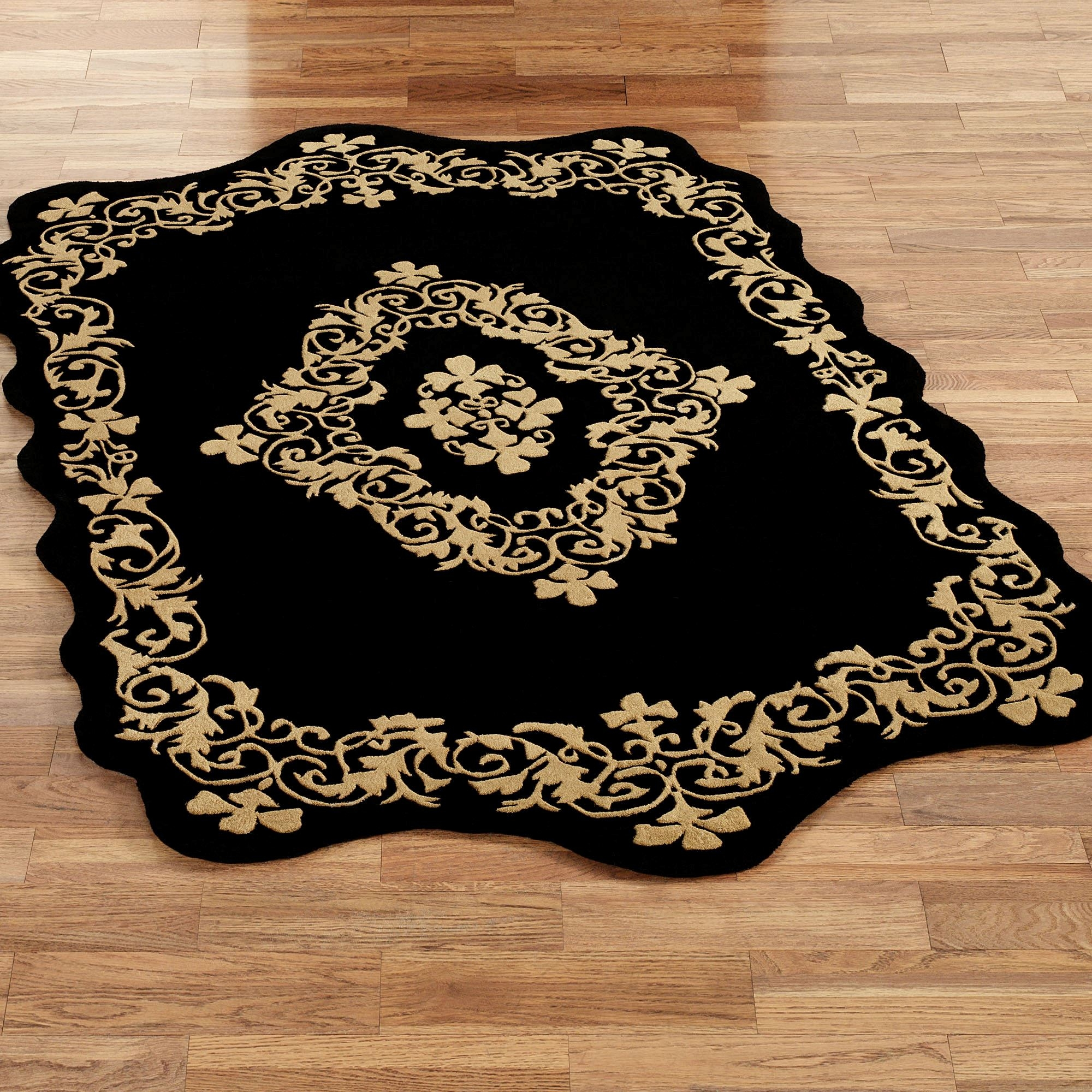 Imperial Scroll Sculpted Wool Area Rugs With Regard To Black Wool Area Rugs (#9 of 15)