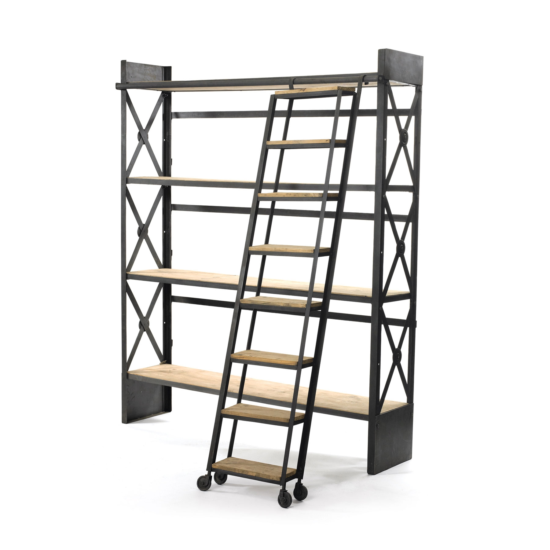 Industrial Bookcase With Library Ladder Dotandbo Within Wooden Library Ladders (View 7 of 15)