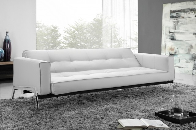 Innovative Contemporary Leather Sleeper Sofa With Living Room Within White Modern Sofas (#5 of 15)