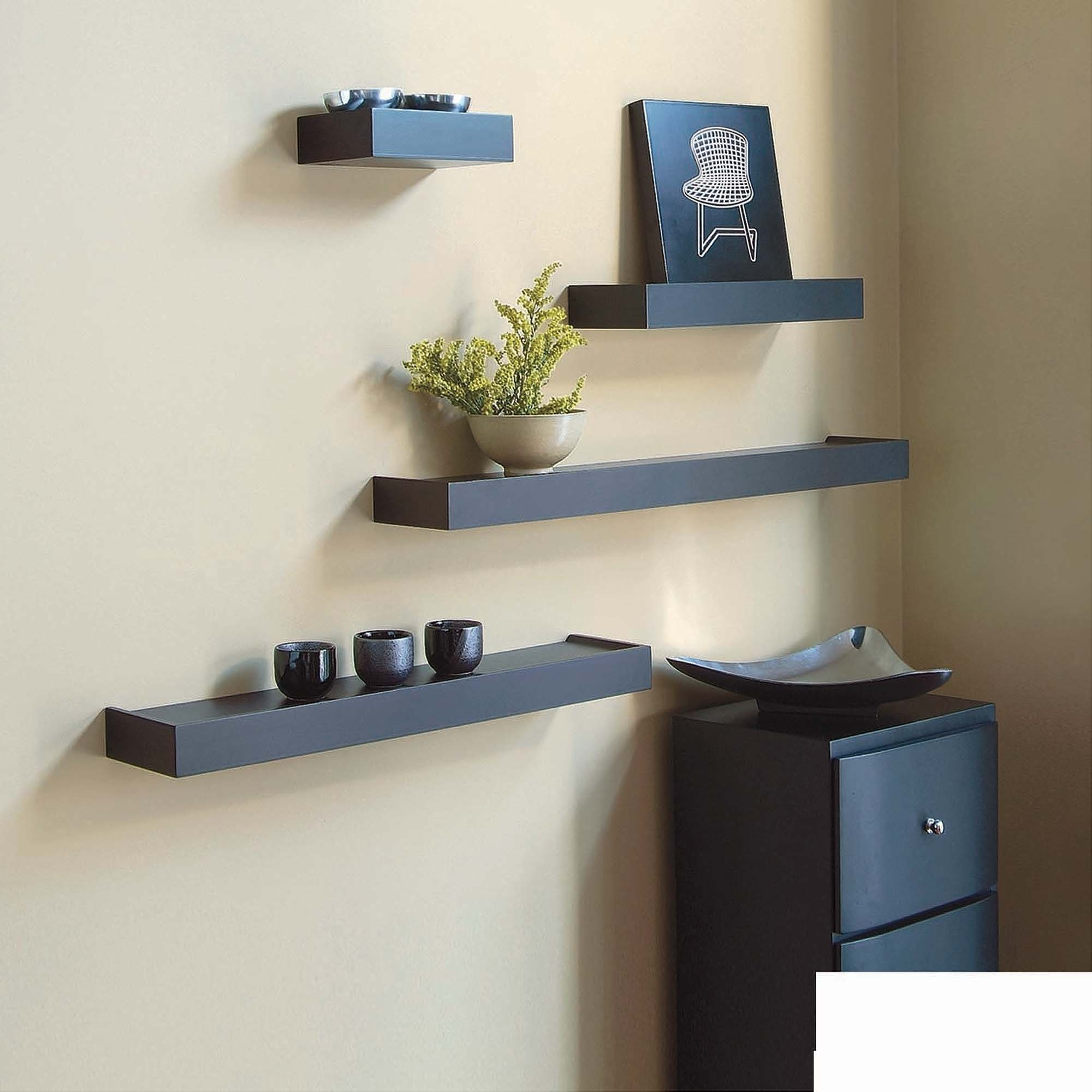 Inplace Shelving 236 Floating Wood Wall Shelf White Walmart Within Floating Wall Shelves (#9 of 12)