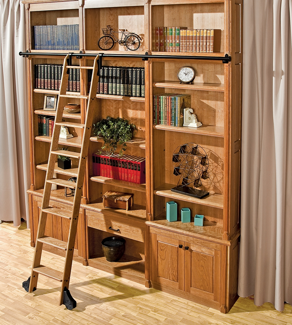 Installing A Custom Rolling Ladder Just Got Easier New Rockler With Sliding Library Ladder (#8 of 15)