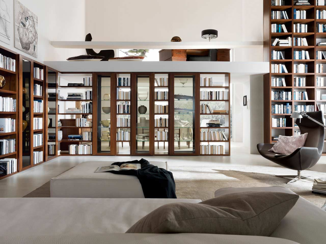 Interior Contemporary Style Home Library Decor With Open Built For Built In Library Shelves (#5 of 15)