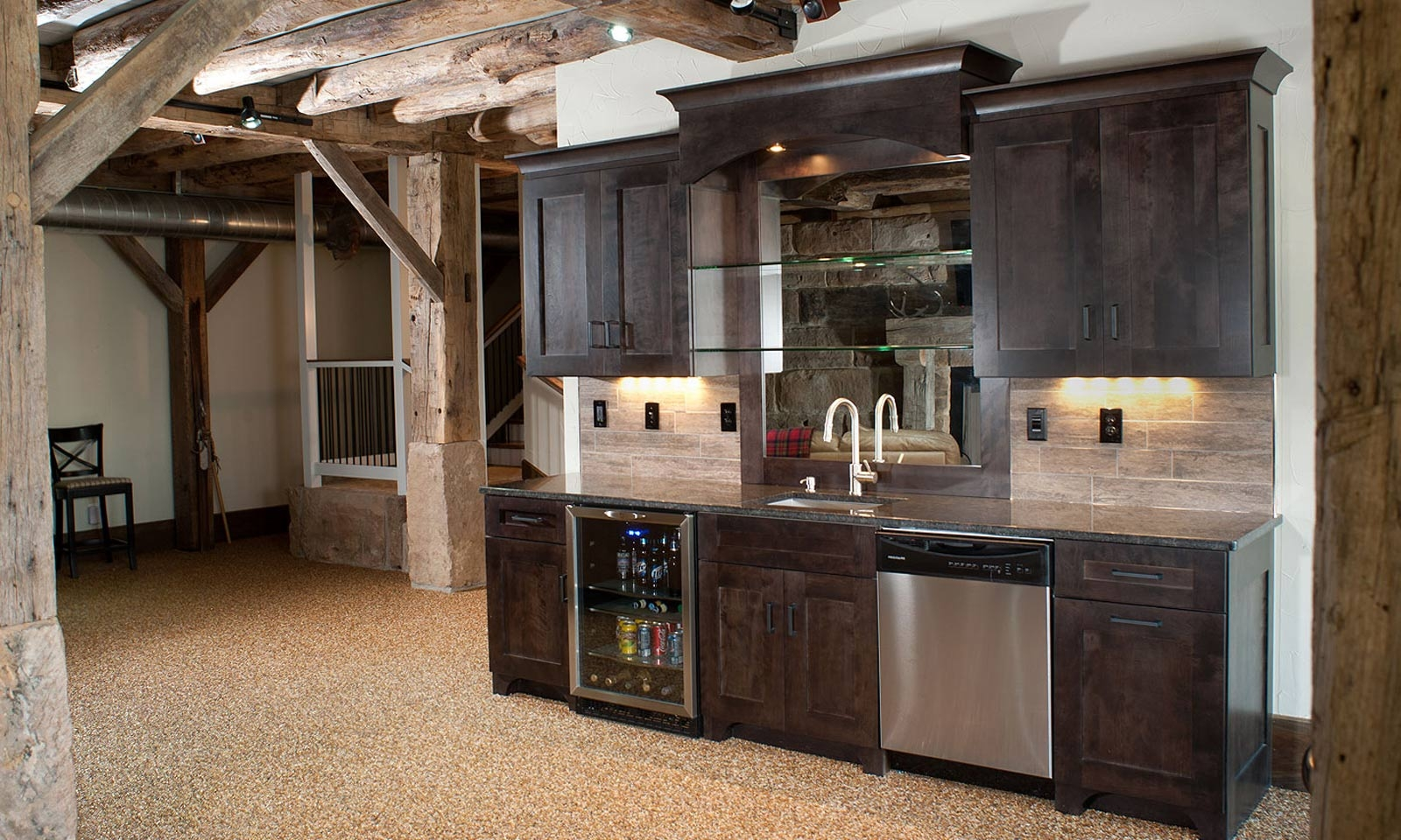 Interior Corner Bar Designs For Home Basements With Wooden Bar Throughout Glass Shelves For Bar Area (View 7 of 12)