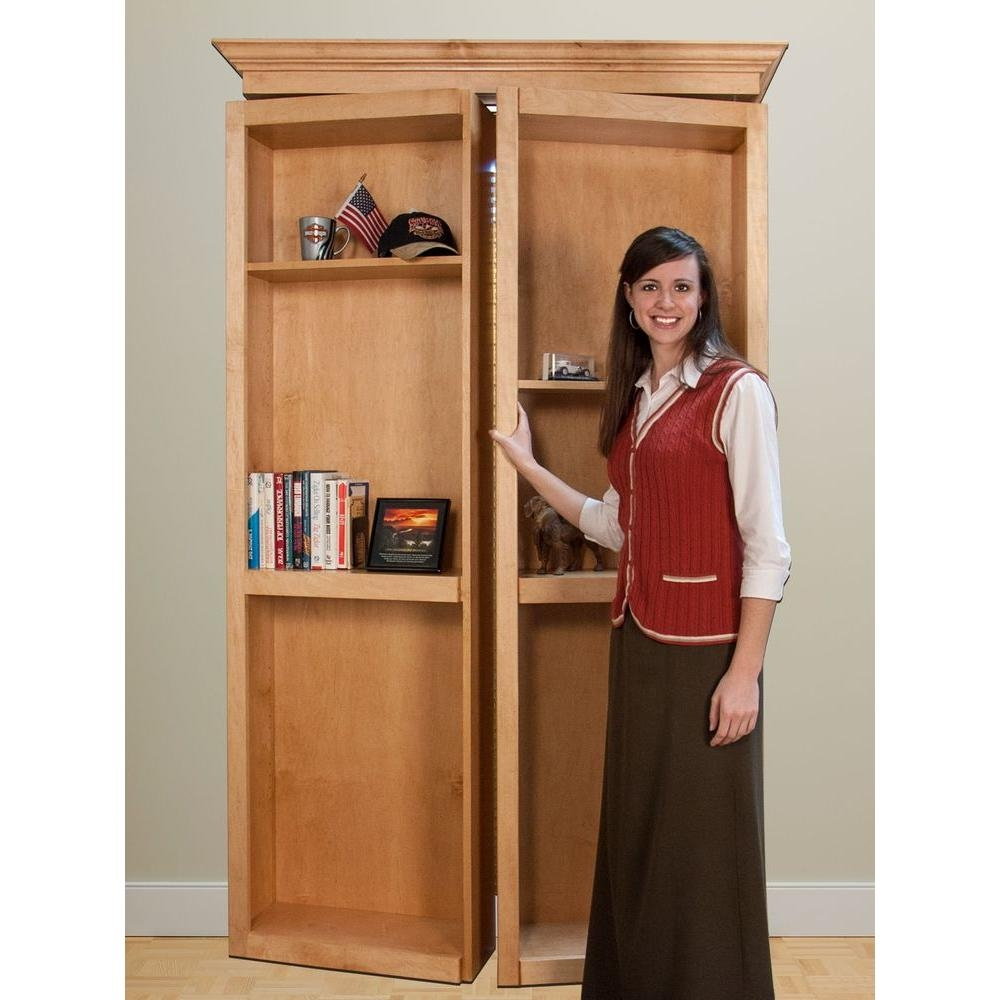 Invisidoor 48 In X 84 In Unfinished Red Oak 6 Shelf Bookcase Bi Inside Bifold Bookcase (#9 of 15)