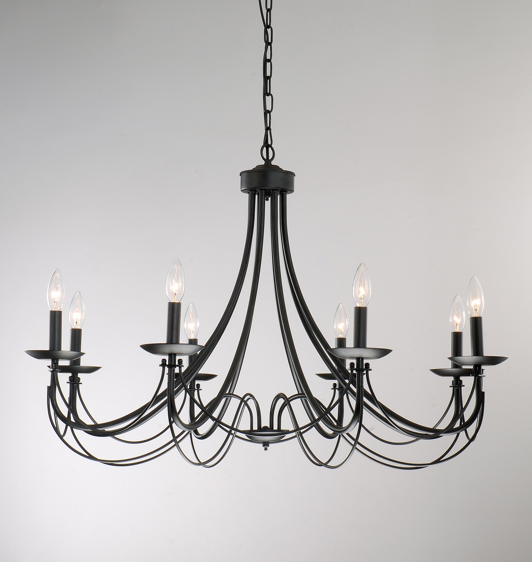 Iron 8 Light Black Chandelier Black Chandelier Chandeliers And Iron With Regard To Large Black Chandelier (#9 of 12)
