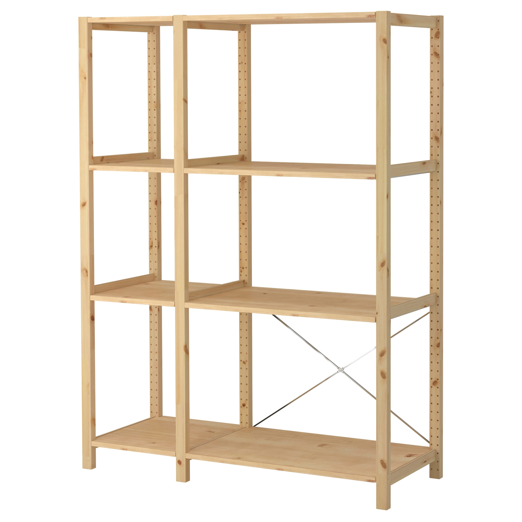 Ivar 2 Section Shelving Unit 52 34×19 58×70 12 Ikea Inside Wooden Shelving Units (#8 of 15)
