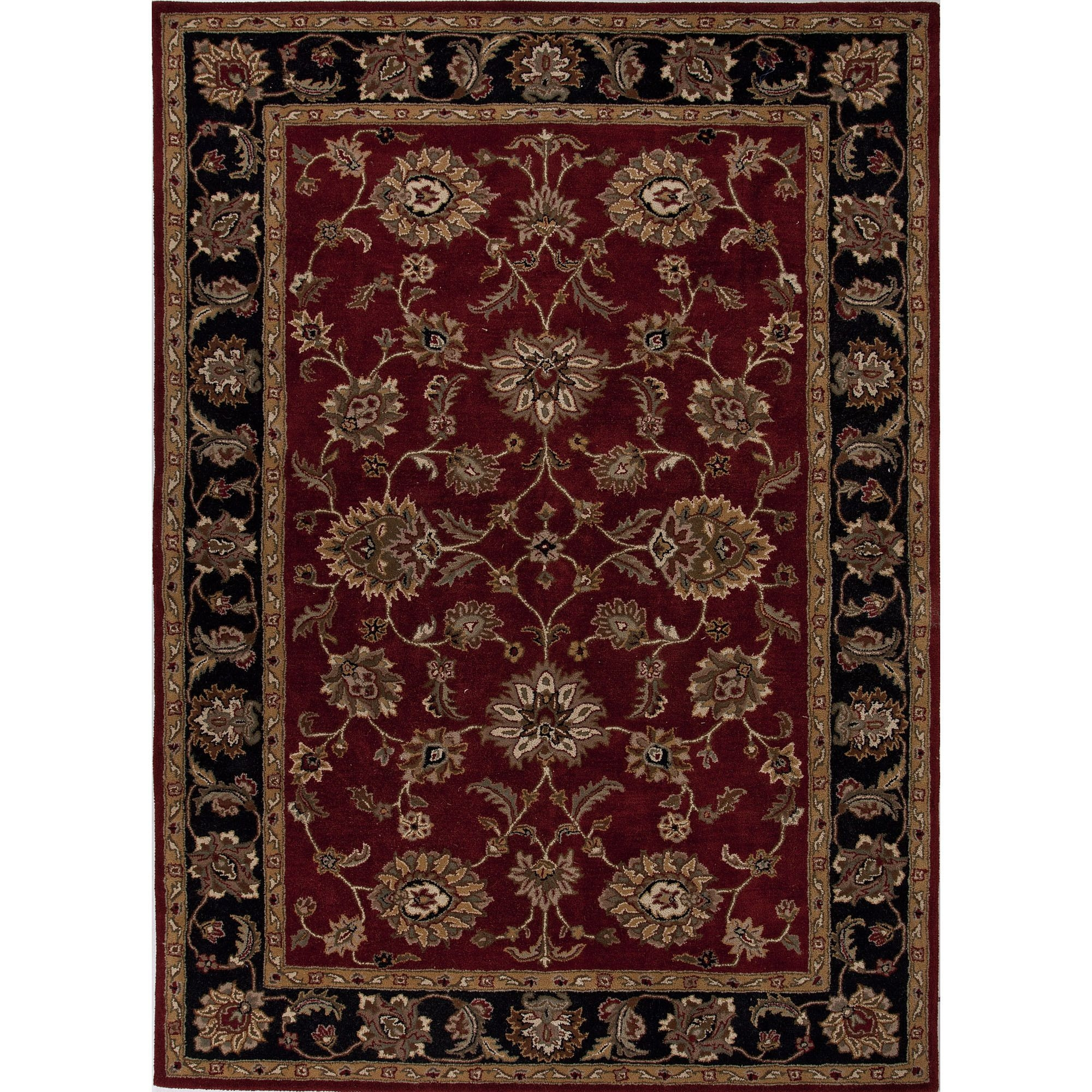 Jaipur Rugs Classic Oriental Pattern Redblack Wool Area Rug My08 In Black Wool Area Rugs (#10 of 15)