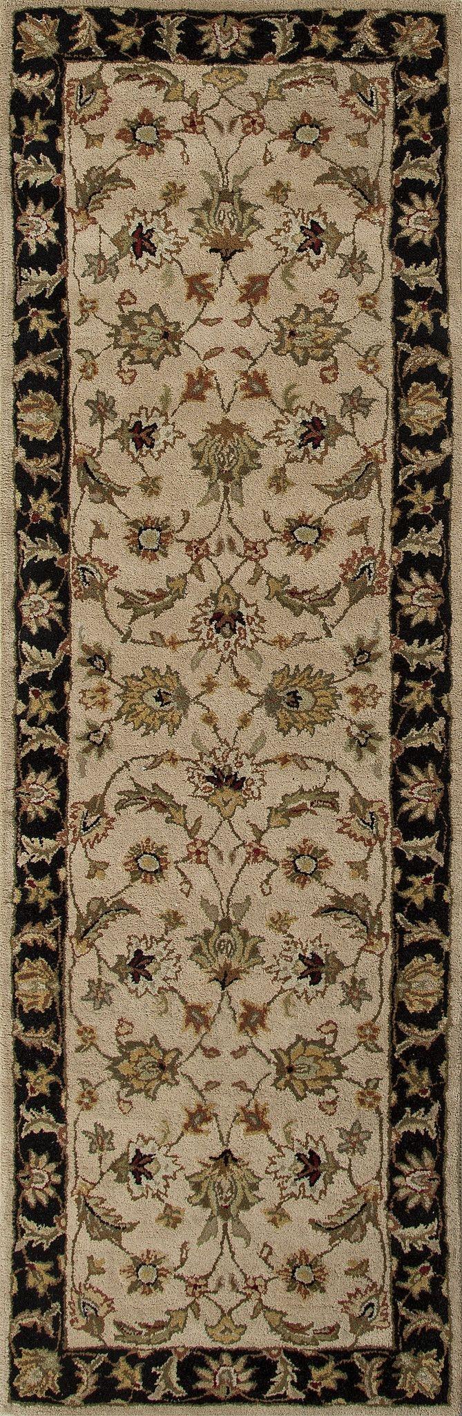 Jaipur Rugs Classic Oriental Pattern Taupeblack Wool Area Rug Pertaining To Black Wool Area Rugs (#11 of 15)