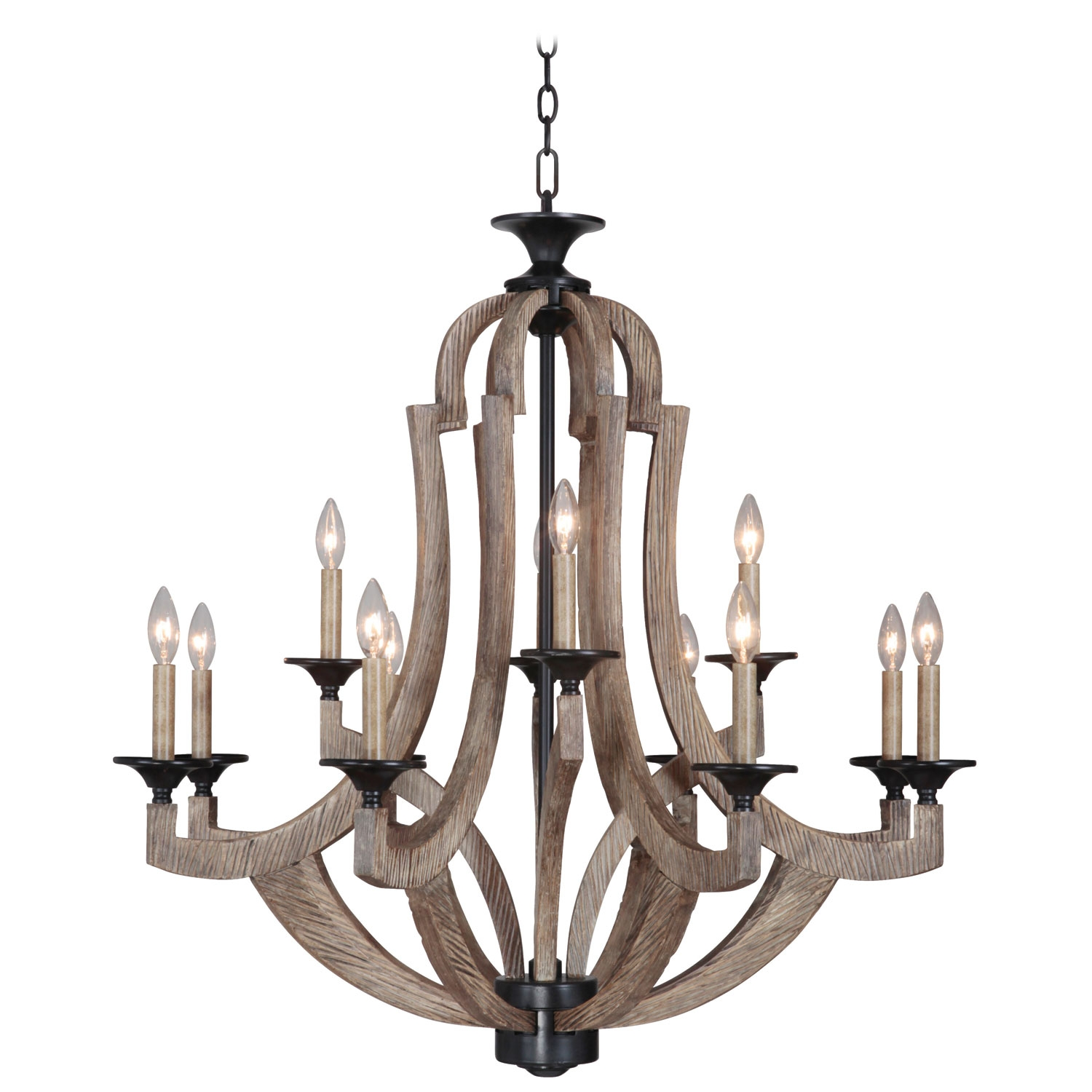 Jeremiah Craftmade Winton Weathered Pine And Bronze 12 Light With Iron Chandelier (#6 of 12)
