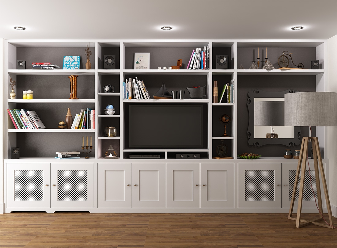 Joinery Configuration Like This To Take Up Tv Wall And Conceal All In Fitted Shelving Systems (View 10 of 15)