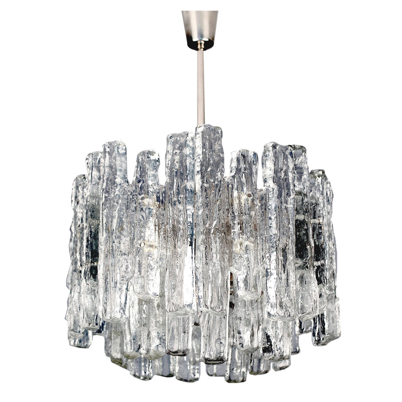 Kalmar Austrian Murano Glass Chandelier Modernist Chrome Ceiling For Chrome And Glass Chandelier (#9 of 12)