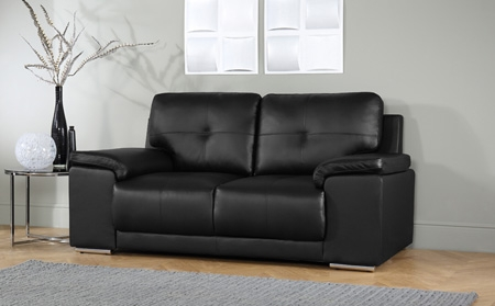 Kansas Black 32 Seater Leather Sofa Suite Only 79998 Within Black 2 Seater Sofas (#9 of 15)