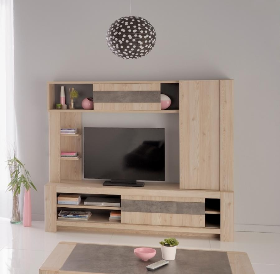 Karina Modern Wall Tv Unit In Larch Wood Effect Finish Intended For Tv Storage Units (#9 of 15)