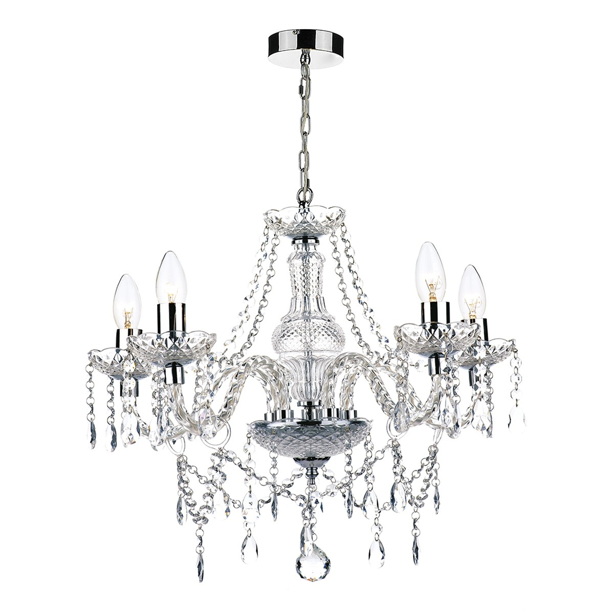Popular Photo of Chrome And Glass Chandelier