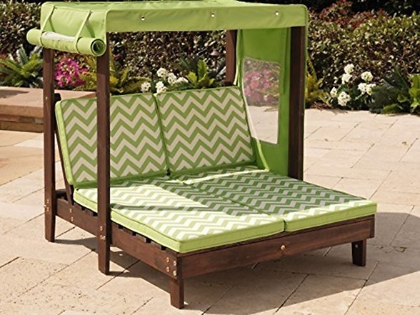 Kidkraft Outdoor Double Chaise Lounge Chair With Canopy 184 Diy Inside Outdoor Sofas With Canopy (#9 of 15)